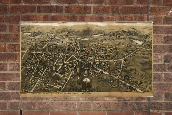 Vintage Barre Print, Aerial Barre Photo, Vintage Barre MA Pic, Old Barre Photo, Barre Massachusetts Poster, 1890