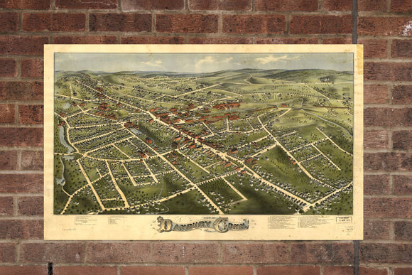 Vintage Danbury Print, Aerial Danbury Photo, Vintage Danbury CT Pic, Old Danbury Photo, Danbury Connecticut Poster, 1875