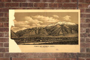 Vintage Ogden City Print, Aerial Ogden City Photo, Vintage Ogden City UT Pic, Old Ogden City Photo, Ogden City Utah Poster, 1889