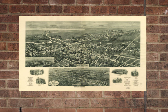 Vintage Absecon Print, Aerial Absecon Photo, Vintage Absecon NJ Pic, Old Absecon Photo, Absecon New Jersey Poster, 1924