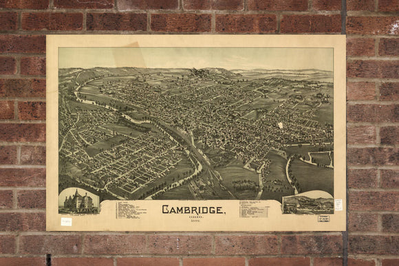 Vintage Cambridge Print, Aerial Cambridge Photo, Vintage Cambridge OH Pic, Old Cambridge Photo, Cambridge Ohio Poster, 1899