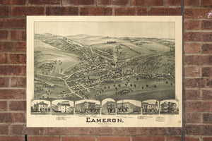 Vintage Cameron Print, Aerial Cameron Photo, Vintage Cameron WV Pic, Old Cameron Photo, Cameron West Virginia Poster, 1899