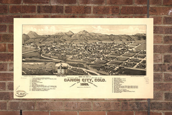 Vintage Canon City Print, Aerial Canon City Photo, Vintage Canon City CO Pic, Old Canon City Photo, Canon City Colorado Poster, 1882