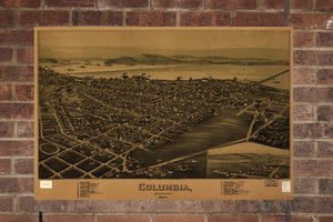 Vintage Columbia Print, Aerial Columbia Photo, Vintage Columbia PA Pic, Old Columbia Photo, Columbia Pennsylvania Poster, 1894