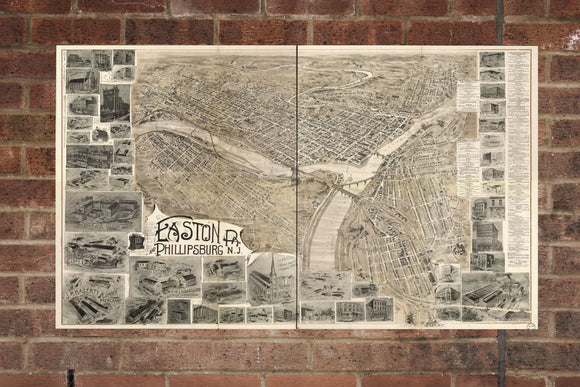 Vintage Easton Print, Aerial Easton Photo, Vintage Easton PA Pic, Old Easton Photo, Easton Pennsylvania Poster, 1900