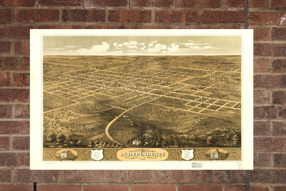 Vintage Independence Print, Aerial Independence Photo, Vintage Independence MO Pic, Old Independence Photo, Independence Missouri Poster