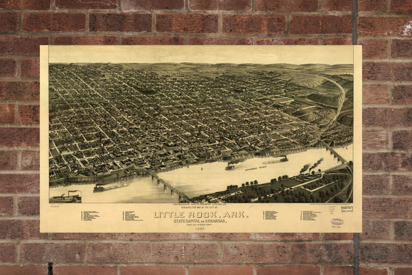 Vintage Little Rock Print, Aerial Little Rock Photo, Vintage Little Rock AR Pic, Old Little Rock Photo, Little Rock Arkansas Poster, 1887