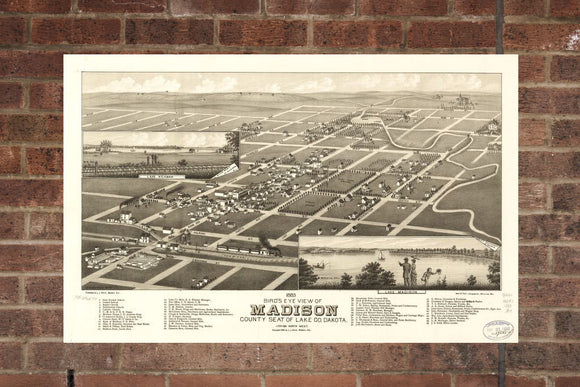 Vintage Madison Print, Aerial Madison Photo, Vintage Madison SD Pic, Old Madison Photo, Madison South Dakota Poster, 1883