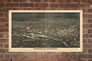Vintage Minneapolis Print, Aerial Minneapolis Photo, Vintage Minneapolis MN Pic, Old Minneapolis Photo, Minneapolis Minnesota Poster, 1885