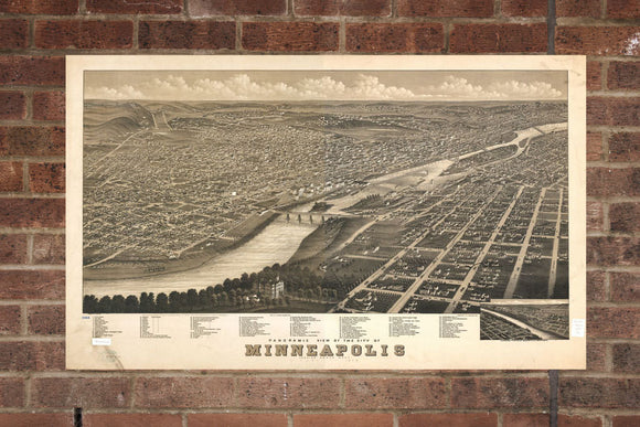 Vintage Minneapolis Print, Aerial Minneapolis Photo, Vintage Minneapolis MN Pic, Old Minneapolis Photo, Minneapolis Minnesota Poster, 1879