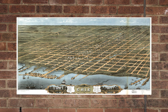 Vintage Erie Print, Aerial Erie Photo, Vintage Erie PA Pic, Old Erie Photo, Erie Pennsylvania Poster, 1870
