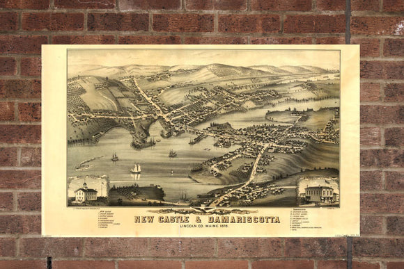 Vintage New Castle Print, Aerial New Castle Photo, Vintage New Castle ME Pic, Old New Castle Photo, New Castle Maine Poster, 1878
