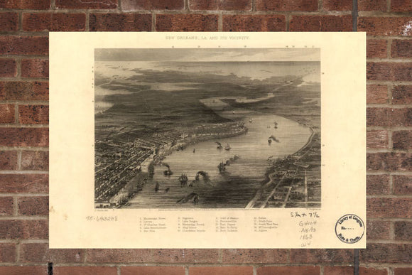 Vintage New Orleans Print, Aerial New Orleans Photo, Vintage New Orleans LA Pic, Old New Orleans Photo, New Orleans Louisiana Poster, 1863
