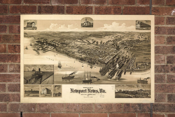 Vintage Newport News Print, Aerial Newport News Photo, Vintage Newport News VA Pic, Old Newport News Photo, Newport News Virginia Poster
