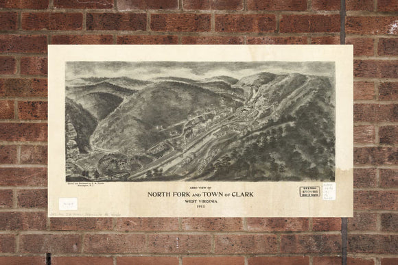 Vintage North Fork Print, Aerial North Fork Photo, Vintage North Fork WV Pic, Old North Fork Photo, North Fork West Virginia Poster, 1911