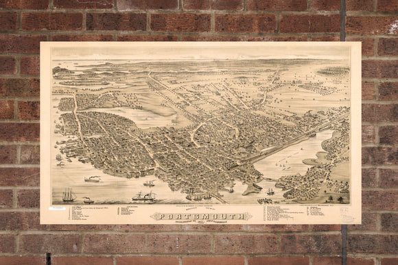 Vintage Portsmouth Print, Aerial Portsmouth Photo, Vintage Portsmouth NH Pic, Old Portsmouth Photo, Portsmouth New Hampshire Poster, 1877