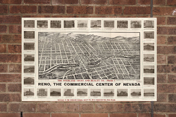 Vintage Reno Print, Aerial Reno Photo, Vintage Reno NV Pic, Old Reno Photo, Reno Nevada Poster, 1907