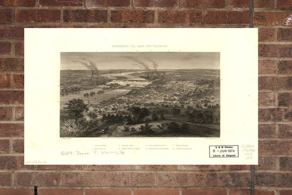 Vintage Richmond Print, Aerial Richmond Photo, Vintage Richmond VA Pic, Old Richmond Photo, Richmond Virginia Poster, 1863