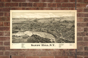 Vintage Sandy Hill Print, Aerial Sandy Hill Photo, Vintage Sandy Hill NY Pic, Old Sandy Hill Photo, Sandy Hill New York Poster, 1884
