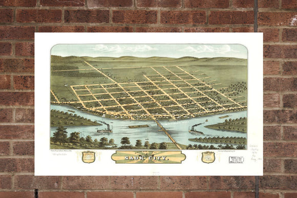 Vintage Sauk City Print, Aerial Sauk City Photo, Vintage Sauk City WI Pic, Old Sauk City Photo, Sauk City Wisconsin Poster, 1870