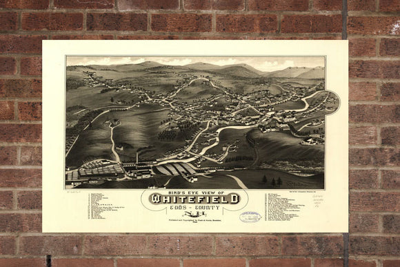 Vintage Whitefield Print, Aerial Whitefield Photo, Vintage Whitefield NH Pic, Old Whitefield Photo, Whitefield New Hampshire Poster, 1883