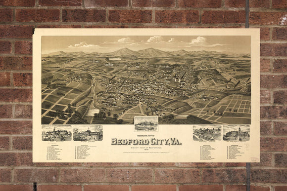 Vintage Bedford Print, Aerial Bedford Photo, Vintage Bedford VA Pic, Old Bedford Photo, Bedford Virginia Poster, 1891