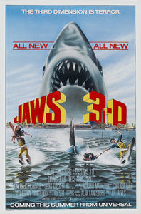 Jaws 3D Poster//Jaws 3D Movie Poster//Movie Poster//Poster Reprint