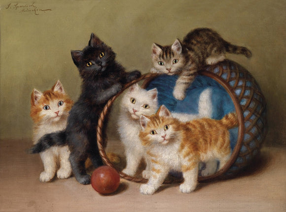 Cats Playing In A Basket With A Ball 1906 Vintage Poster