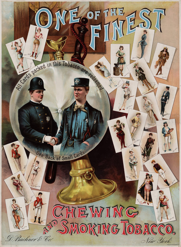 Chewing And Smoking Tobacco Cards 1890 Vintage Poster