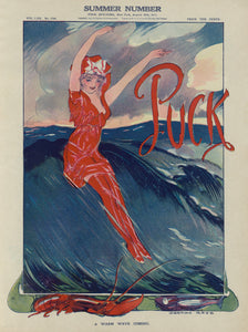 Puck Girl In Red Riding Wave Vintage Poster 1911