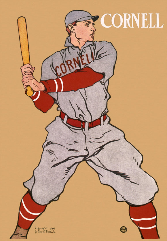 Baseball Player, From Cornell University, Holding Bat.
