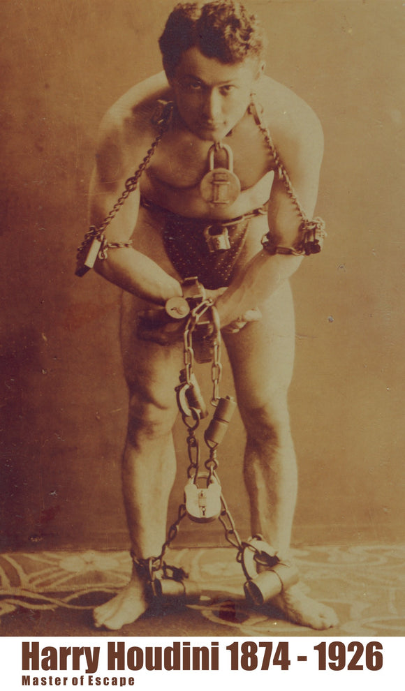 Harry Houdini Portrait In Chains - Pulicity Photo Taken 1899