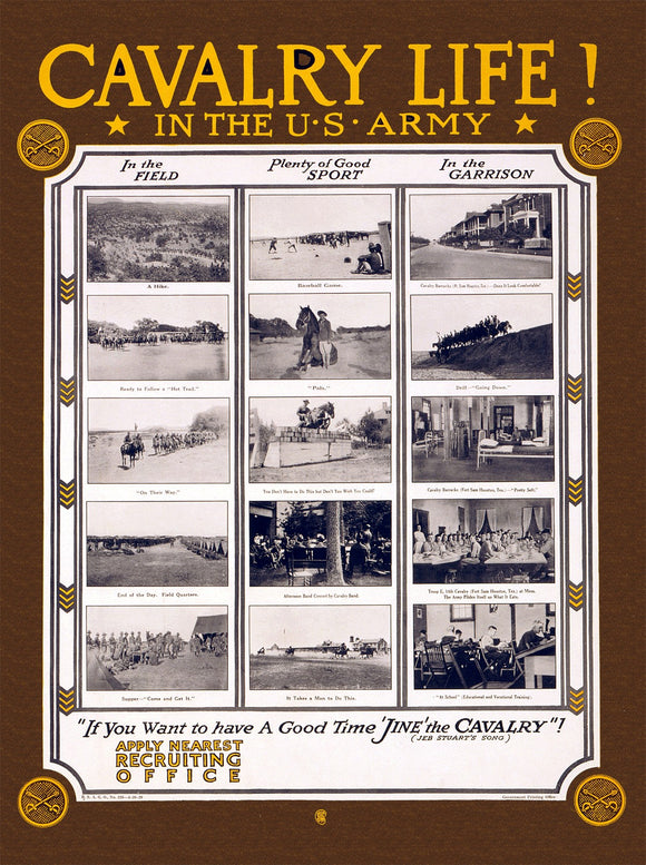WWI Poster Cavalry Life! In The U.S. Army