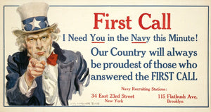 WWI Poster First Call I Need You In The Navy This Minute! Our Country Will Alway
