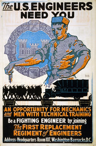 WWI Poster The U.S. Engineers Need You / George Carlson.