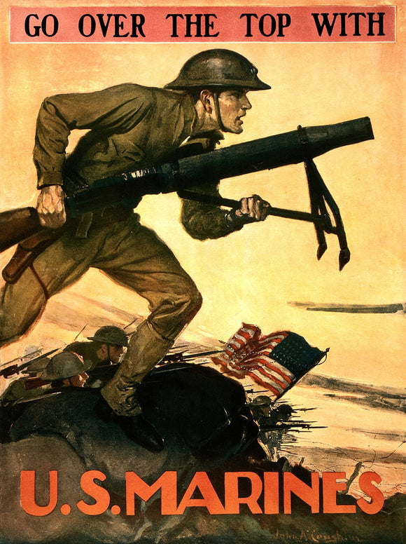 WWI Poster Go Over The Top With U.S. Marines / John A. Coughlin.