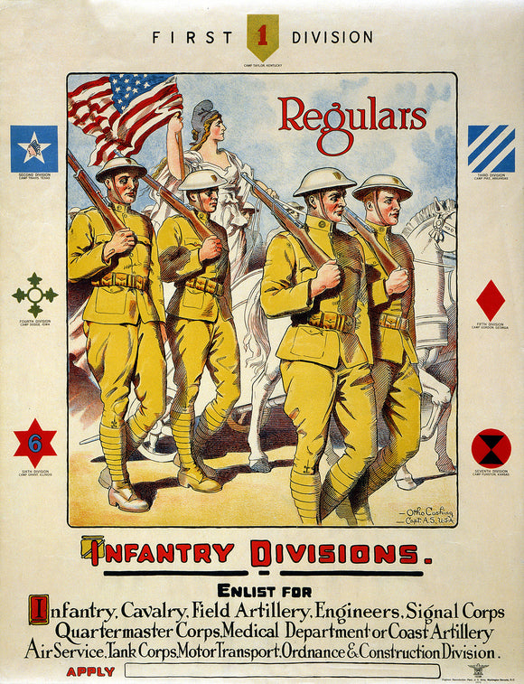 WWI Poster First Division, Regulars Infantry Divisions Enlist For Infantry, Cava