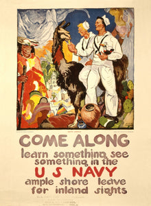 WWI Poster Come Along Learn Something, See Something In The U.S. Navy Ample Shor