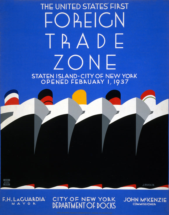 WPA Foreign Trade Zone New York Vintage Posters