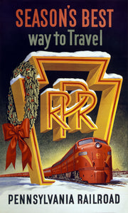 Vintage Holiday Pennysylvania Railroad Travel Poster