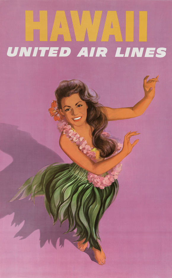 Vintage Travel Poster Hawaii Hula Girl United Air Lines Purple