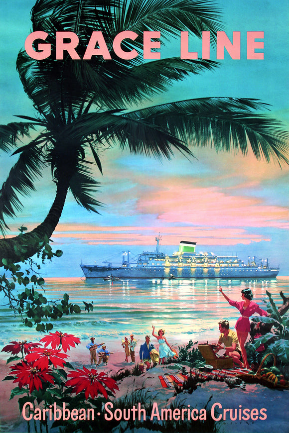 Grace Line Caribbean Sound America Cruises Travel Poster