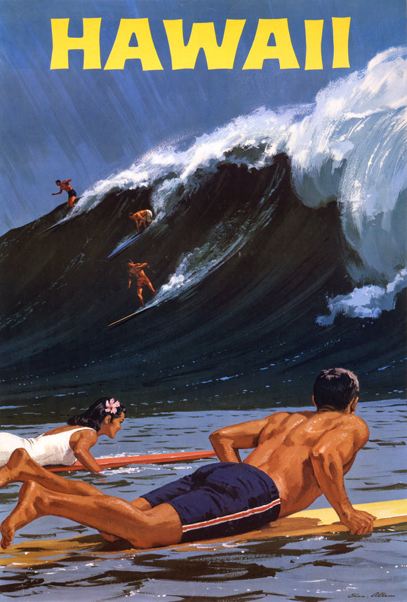 Hawaii Surfing The Big Wave Vintage Travel Poster