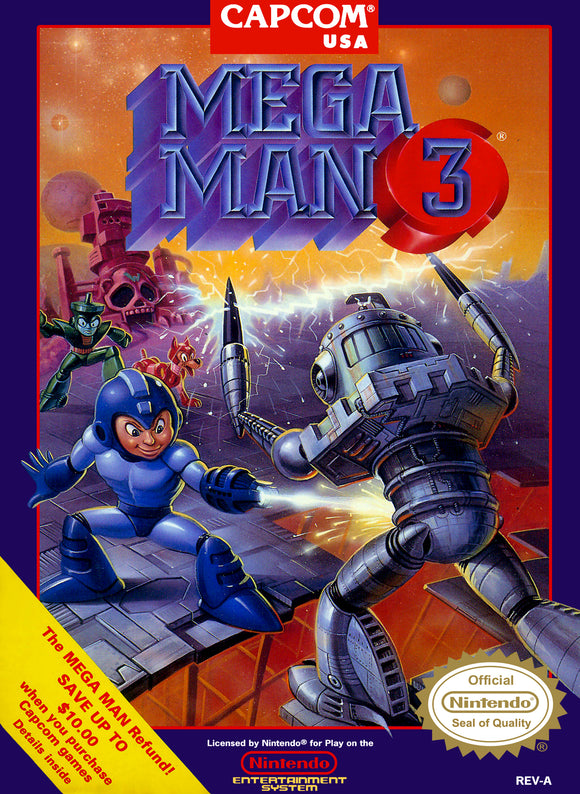 Retro Mega Man 3 Game Poster//NES Game Poster//Video Game Poster//Vintage Game Cover Reprint
