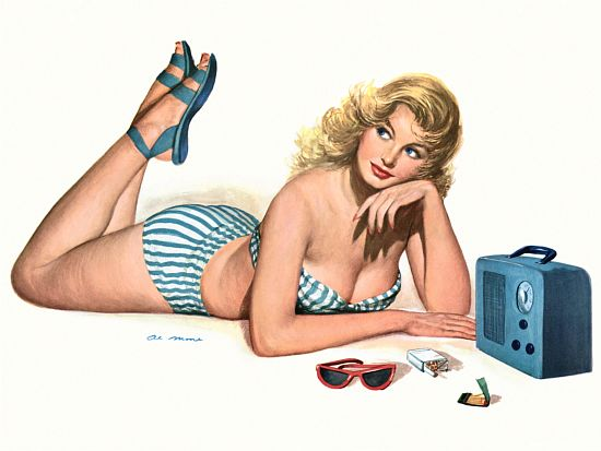 Pinup Poster Blonde In Striped Bathing Suit