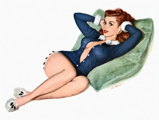 Pin Up Art Redhead Leaning On A Large Pillow Poster