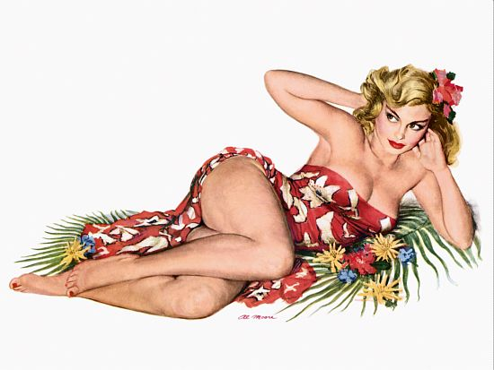 Pin Up Girl Blonde In A Sarong Poster