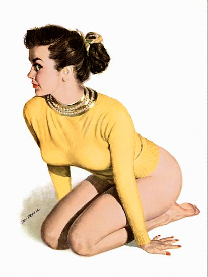 Pinup Girl Brunette In A Yellow Sweater And Poster