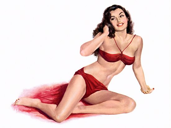 Pinup Poster Brunette In Red Bikini