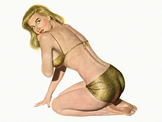 Pinup Girl Blonde In Gold Bikini Poster